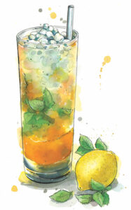 An illustration by Hannah George depicting the Long Pig blended whisky cocktail made from blended scotch, orgeat syrup, lemon juice, and bitters, served in a Collins glass with cracked ice and garnished with a mint sprig.