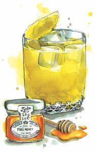 An illustration by Hannah George depicting the Penicillin whisky cocktail next to a small jar of honey and a honey dipper resting in a small puddle of honey.