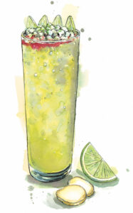 An illustration by Hannah George depicting the green-hued Suffering Bastard cocktail in a highball glass, with slices of ginger and a lime wedge near the base of the glass.
