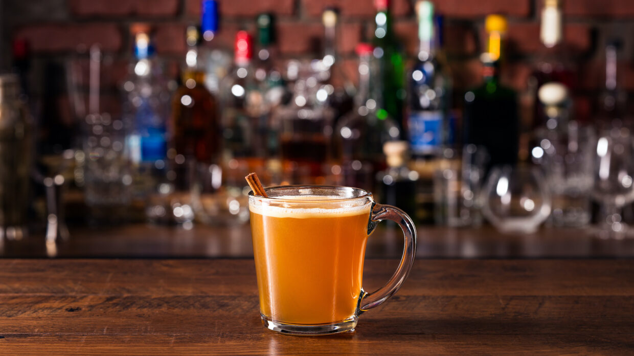 whiskey hot toddy on a bar