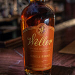 close up of bottle of weller single barrel bourbon