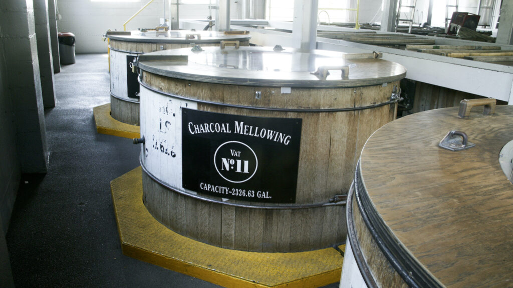 A view of charcoal mellowing tanks at the Jack Daniel's Distillery in Lynchburg, Tennessee.