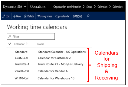 SCM Calendars in Dynamics 365 for Operations