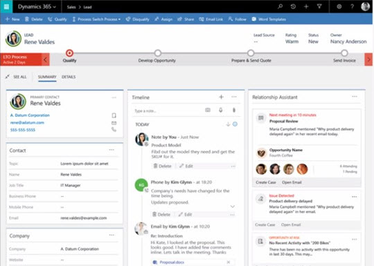A preview of the Dynamics 365 Business edition Sales app.