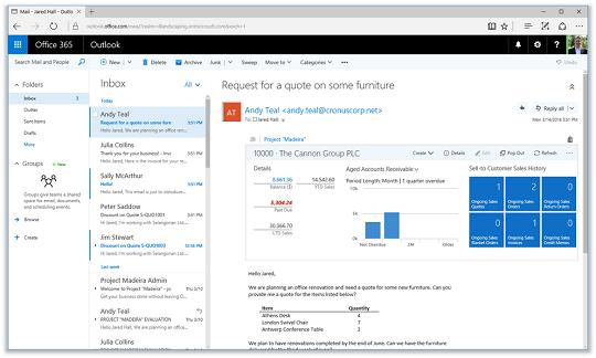 Microsoft Dynamics NAV 2017 Outlook integration (click for larger)