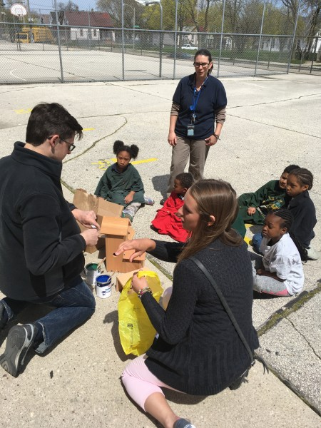 MSOE University Scholars Honors Program students design, build, and paint birdhouses with students at Martin Luther King, Jr. elementary school.