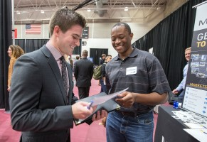 Student at the Fall career fair