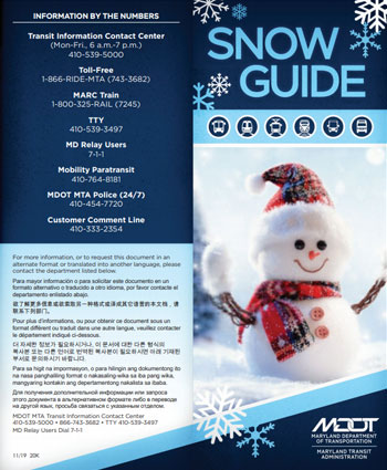 MDOT MTA Snow Guide