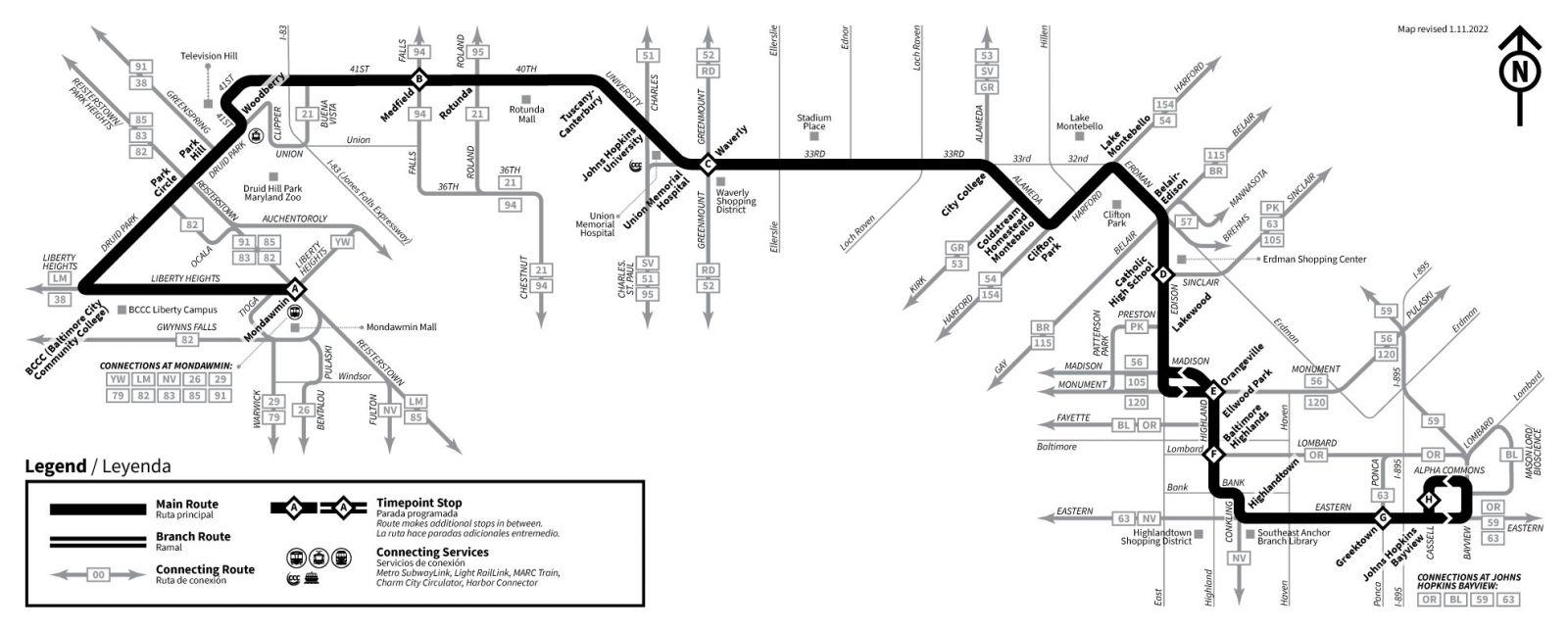 Info Amp Maps 22 Mondawmin Bayview Maryland Transit