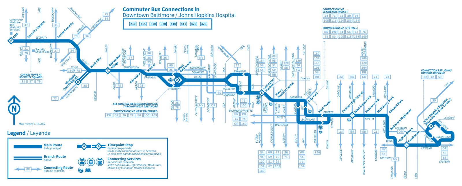 Info Amp Maps Citylink Blue Cms Johns Hopkins Bayview