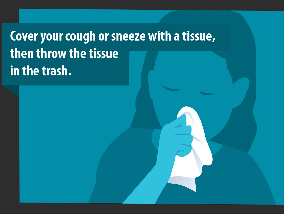 cover your cough or sneeze with a tissue, then throw the tissue in the trash
