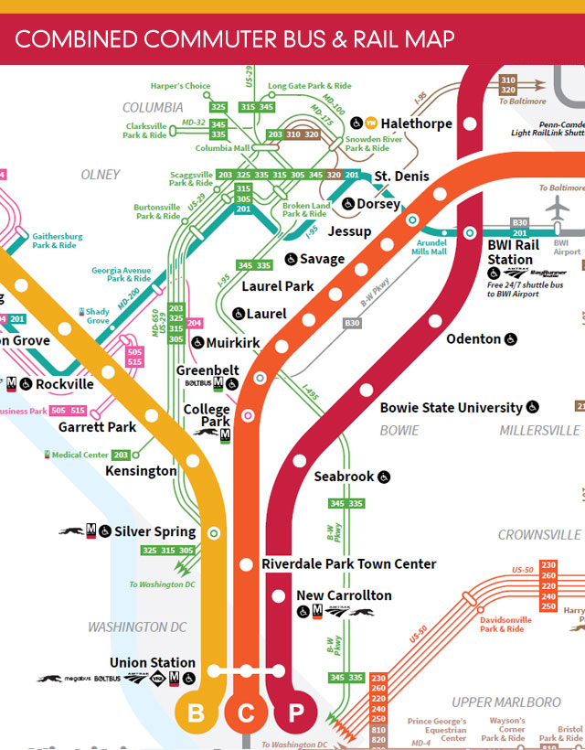 MARC and Commuter Bus Combined Map