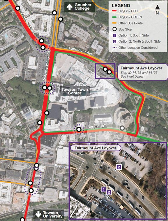 Map of potential locations around Towson