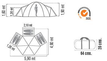 Medidas Carpa estructural Bunker 6P