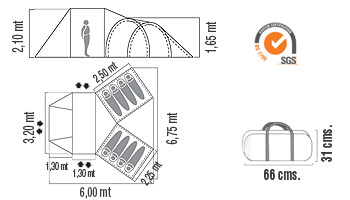 Medidas Carpa estructural Bunker 8P