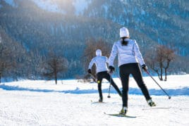 couple skiing on Valentine's Day