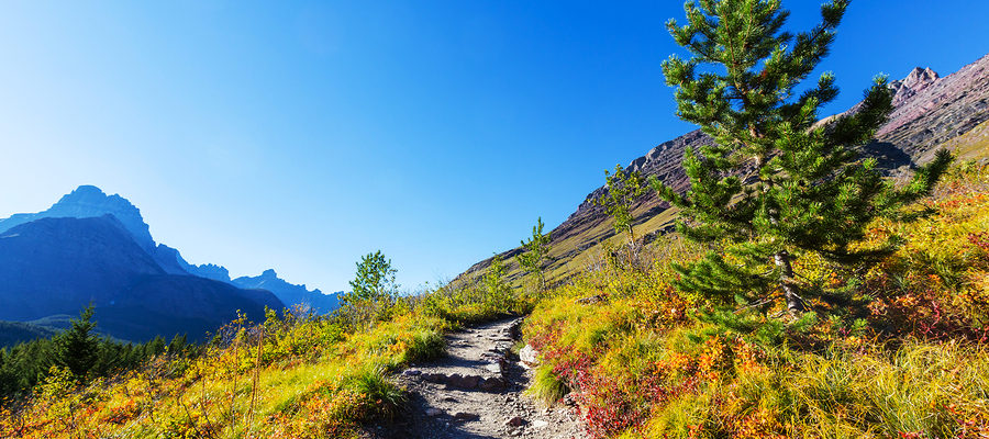 Mountain top hiking trail with autumn foliage, blue sky and distant mountain peaks