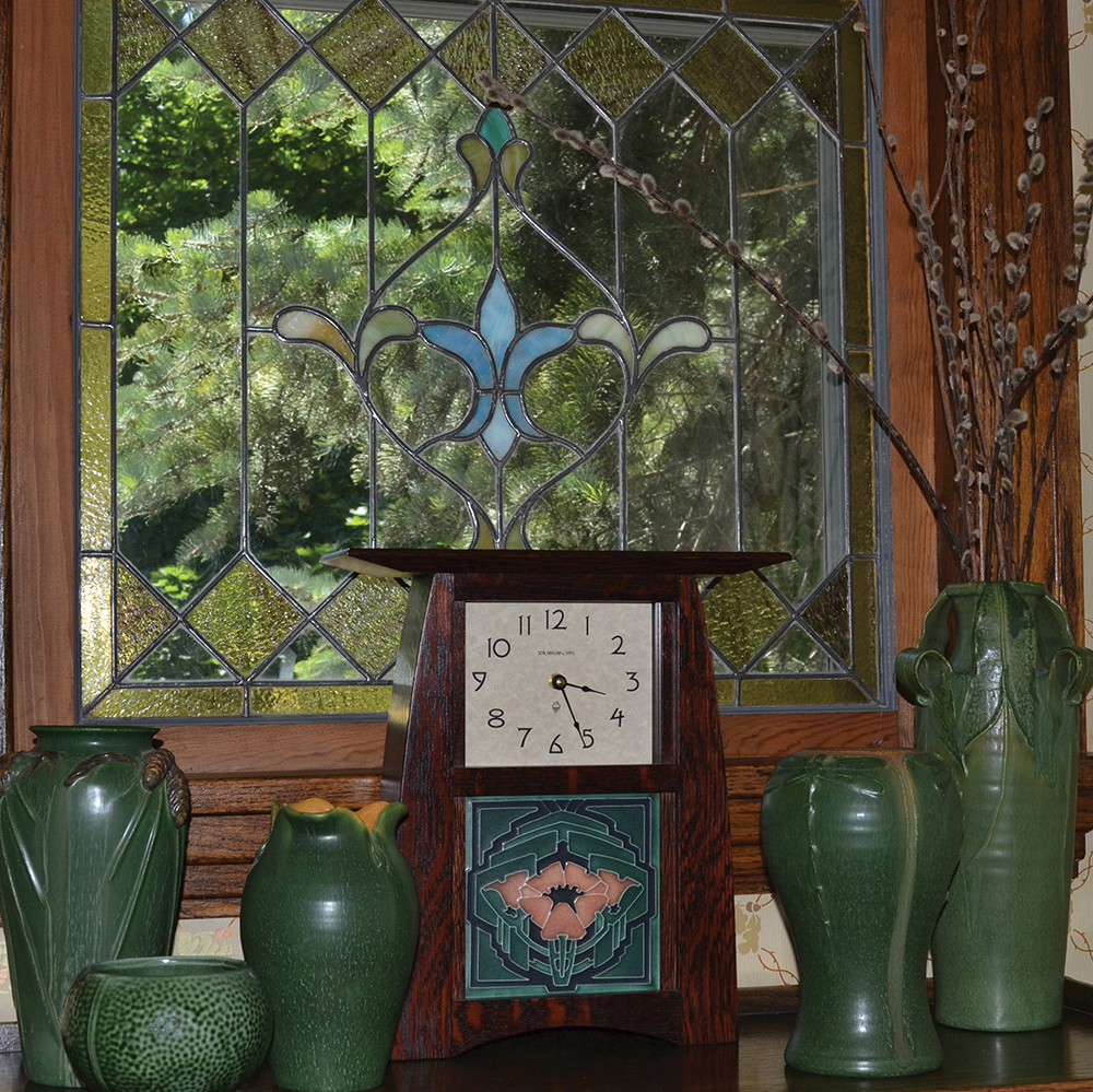 Arts and Crafts Window, Pottery and Motawi Clock