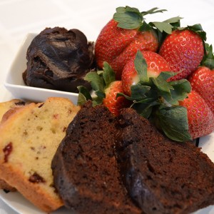 cocoa cottage bed breakfast whitehall michigan Chocolate Hot Fudge, Strawberries, Chocolate zucchini bread for breakfast!