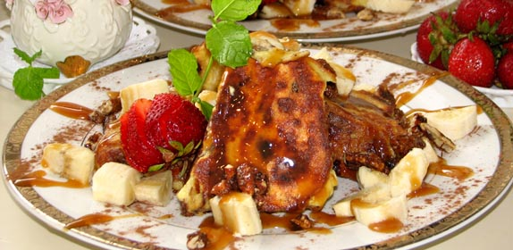 French Toast with Bananas at Island Cottage Oceanfront Inn and Spa, Flagler beach, Florida