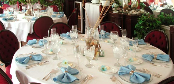 Reception tables at Island Cottage Oceanfront Inn and Spa, Flagler beach, Florida