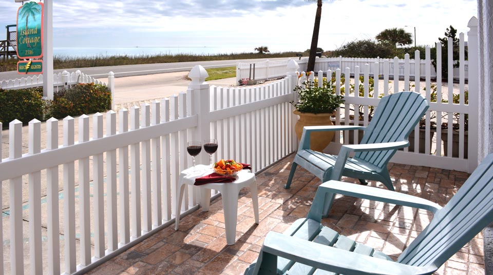 Private Patio and Ocean View at Island Cottage Oceanfront Inn and Spa