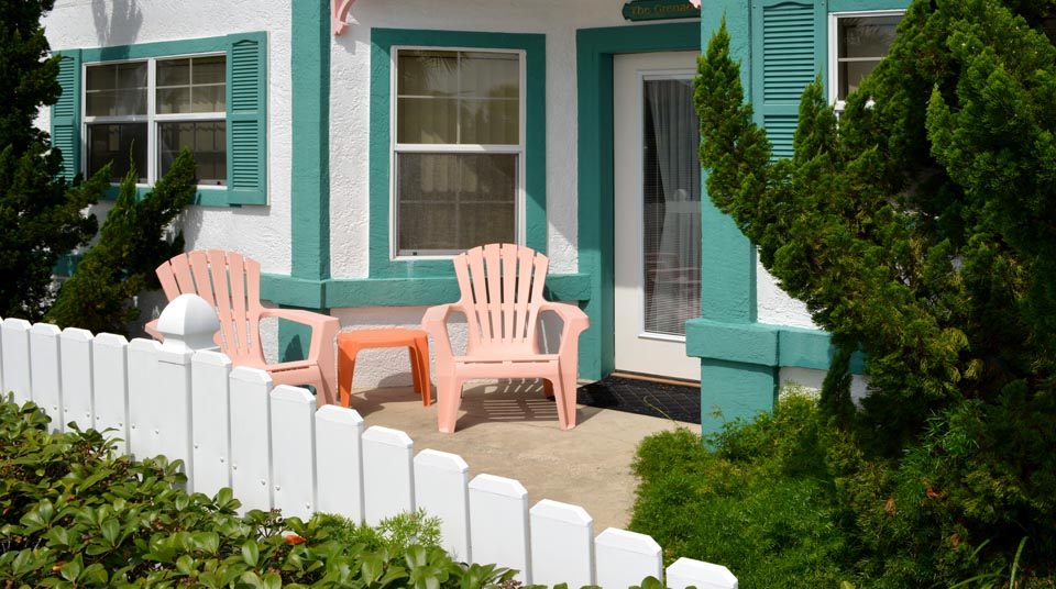 Private Patio at Romance at Island Cottage Oceanfront Inn and Spa, Flagler beach, Florida