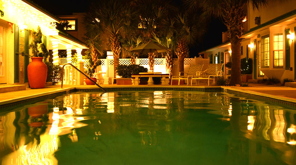 Enchanting pool at night
