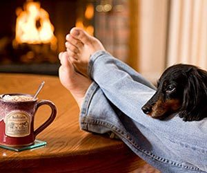 Time to relax. Guest shown in front of fireplace with dog on her legs.