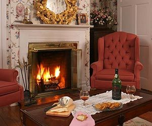 Winter fireplace glows while guests en cheese and fruit platter