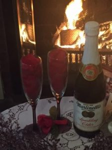 Sparking cider and chocolate dipped strawberries await your arrival.