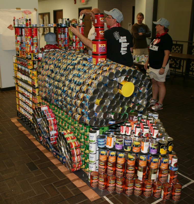 Train made from donated cans