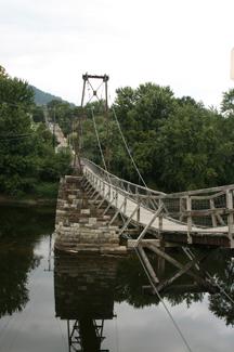 Stone Pier of the Buchanan Swinging Bridge dates back to 1851