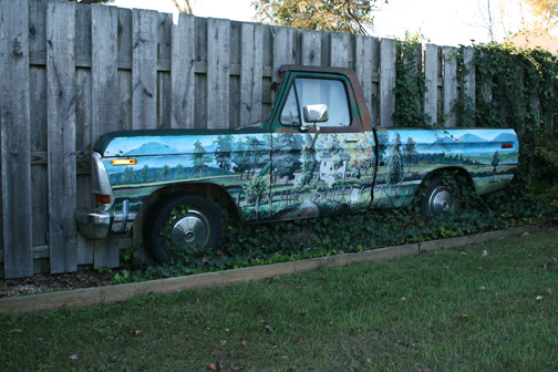 Pick up truck sculpture on the grounds of VCCA.