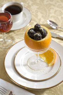 Blackberries in Orange Cup