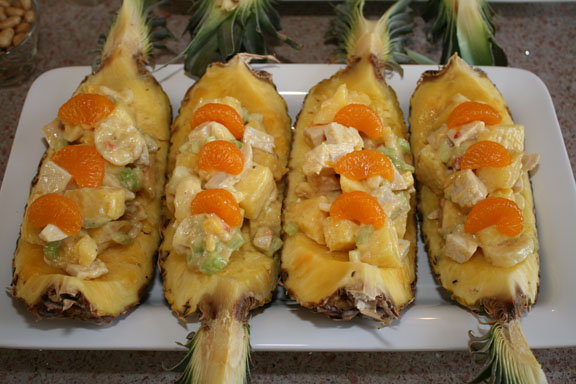 recipe for paradise chicken salad in pineapple boats