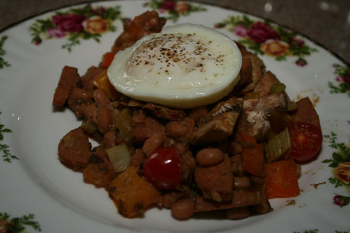 Sausage and Black-eyed pea hash recipe