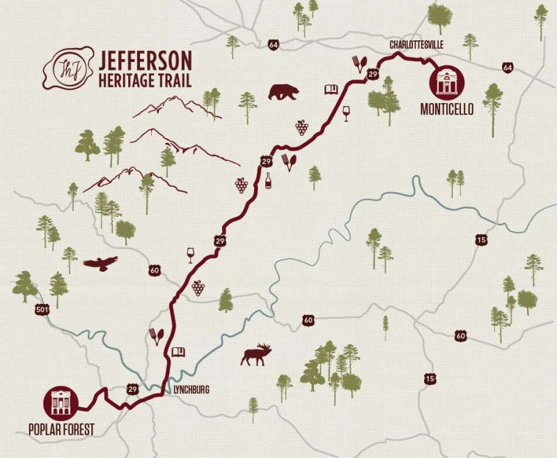 Map of the Jefferson Heritage Trail