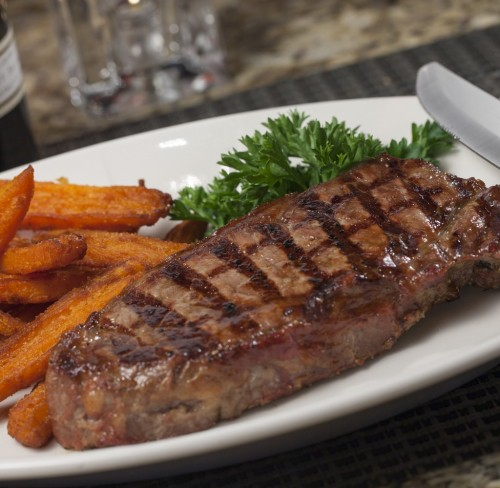 The New York Strip with sweet potato fires at Shoemaker's