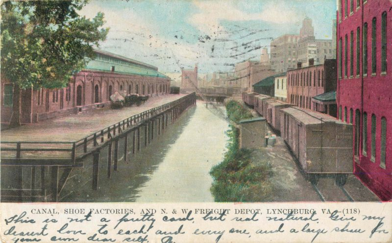 Post card of old canal and shoe factory-Downtown Lynchburg