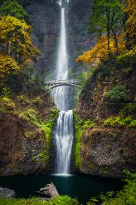 Fall Hiking at Multnomah Falls in Portland, Oregon