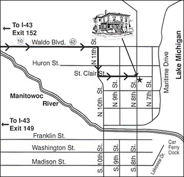 directions to our Manitowoc, Wisconsin Bed and Breakfast