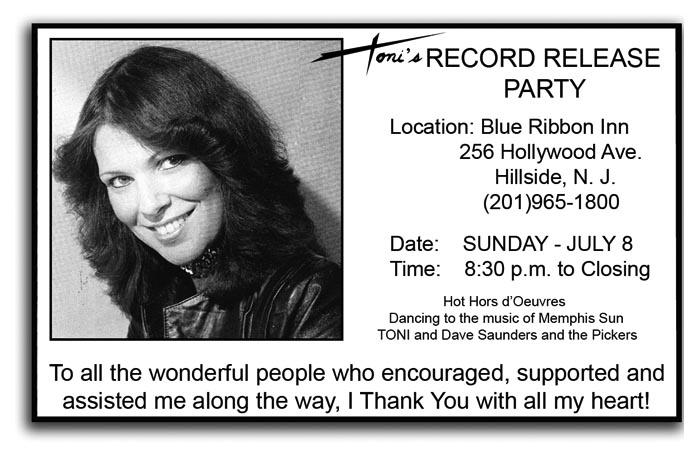 Toni - 1980's Record Release Invitation Card