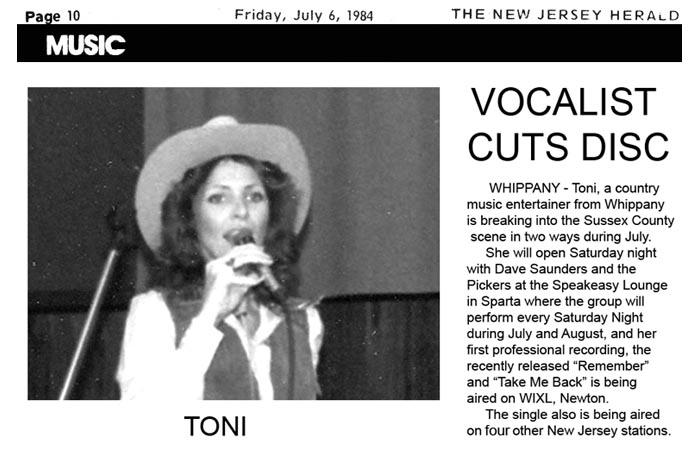 Toni - 1980's News Article - Cutting Record