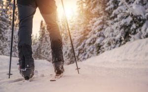 Cross Country Skiing Winter Ski And Legs Closeup.