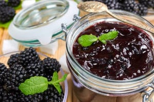 Homemade fruit jam at farmers market