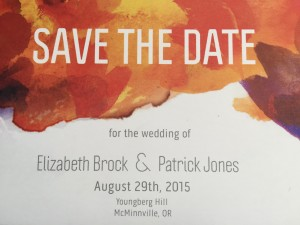 save the date at Youngberg Hill wedding