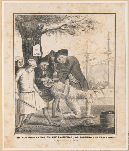 Depiction of tarring and feathering during protests of the Stamp Act, prior to the American Revolution