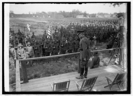 General Pershing addresses the troops at Camp Humphreys in 1921