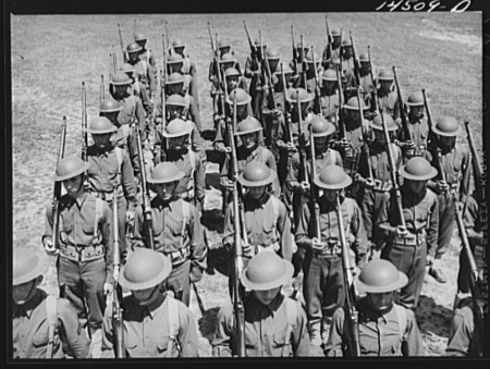 Soldiers drill at Fort Belvoir in 1941